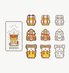 icons with backpacks for hicking vector image