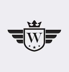 letter w shield wing vector image
