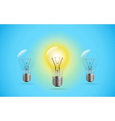 Lighting lightbuld in a line Idea concept vector image