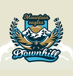 Logo emblem of an eagle flying mountains rocks vector