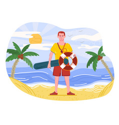 Male lifeguard is standing on beach vector
