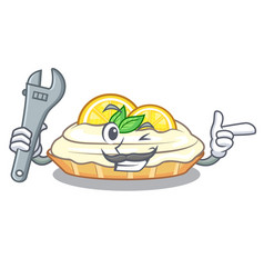 Mechanic mascot delicious homemade lemon cake with vector