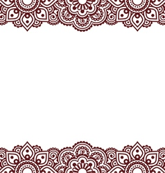 mehndi indian henna tattoo brown greetings card vector image