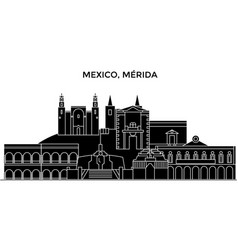 Mexico merida architecture urban skyline with vector