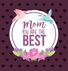mom best card label rose and birds decoration dots vector image