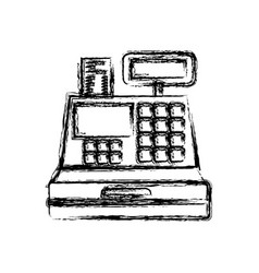 Monochrome blurred silhouette of cash register vector