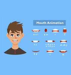 Mouth animation set communication and language vector