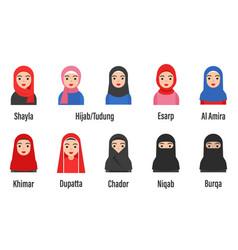 Muslim women avatar set with islamic clothing name vector