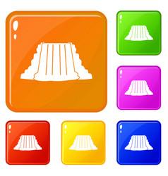 Niagara falls icons set color vector