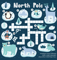north pole animals crossword game for kids vector image