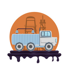 oil industry with transport truck vector image