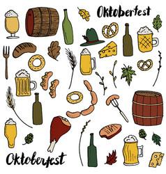 Oktoberfest doodle set vector