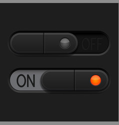 On and off toggle switch buttons black 3d oval vector
