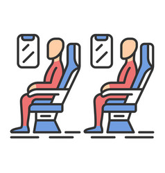 passengers at plane salon color icon vector image