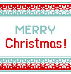 Pattern for knit greeting card merry christmas vector