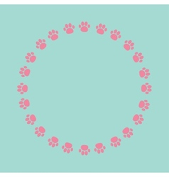 Paw print round frame Empty template vector