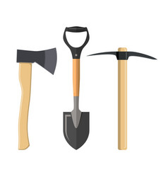 pickaxe shovel and ax vector image