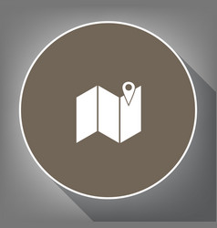 pin on the map white icon on brown circle vector image