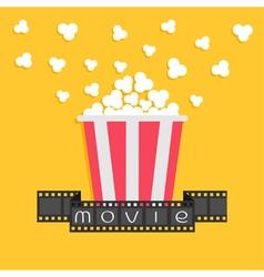 Popcorn Film strip ribbon Red yellow box Cinema vector