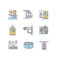 public service regulation rgb color icons set vector image