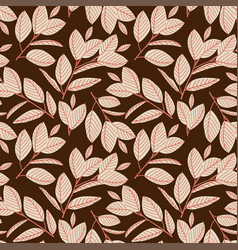 seamless pattern with forest berries and leaves vector image