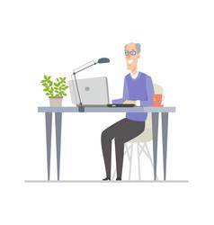 senior man at computer - flat design style vector image
