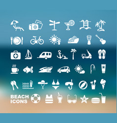 set flat beach icons vector image