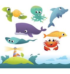 Set sea animals vector