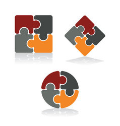 Simple puzzle icons vector image