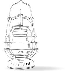 Sketch old kerosene lamp vector