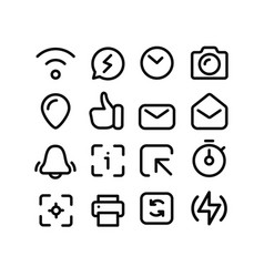 social media thin line icons set on white vector image