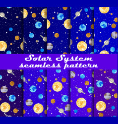Solar system seamless pattern set planets vector