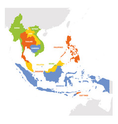 Southeast asia region map countries in vector