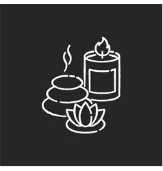Spa resort chalk white icon on black background vector