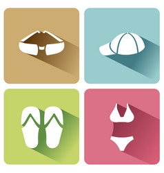 summer clothes icons with shadow on a white vector image
