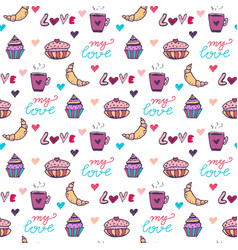 sweets seamless pattern with cupcake and vector image
