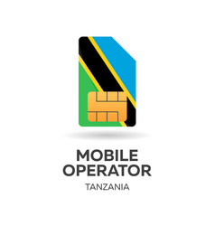 Tanzania mobile operator sim card with flag vector
