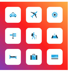 Traveling icons colored set with traveler vector