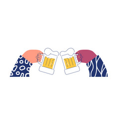 two hands drinking beer glass toast isolated vector image
