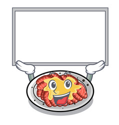 Up board carpaccio is served on cartoon plates vector