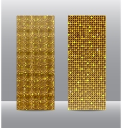 Vertical set Gold sequins banners Glitter vector