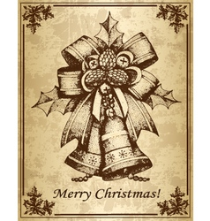 Vintage christmas card with bells vector