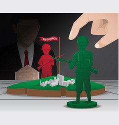 War strategy board game with green and red pawns vector
