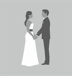 wedding couple on gray background vector image
