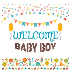 Welcome baby boy Announcement card Baby shower vector