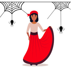 woman wearing carnival pirate dress spider web vector image