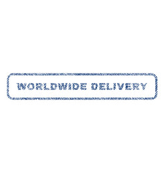Worldwide delivery textile stamp vector