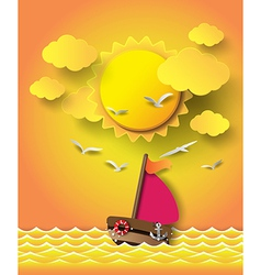 yacht on sea with sunrise vector image