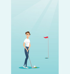 Young caucasian golfer hitting a ball vector