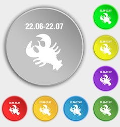 Zodiac Cancer icon sign Symbol on eight flat vector